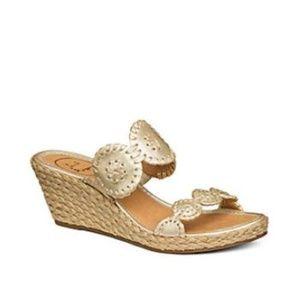 Jack Rogers Shelby Wedge Sandals Gold Tan Slide 8